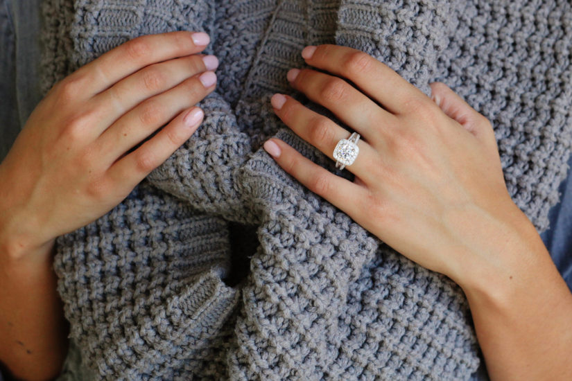 fall nail polish to show off engagement ring