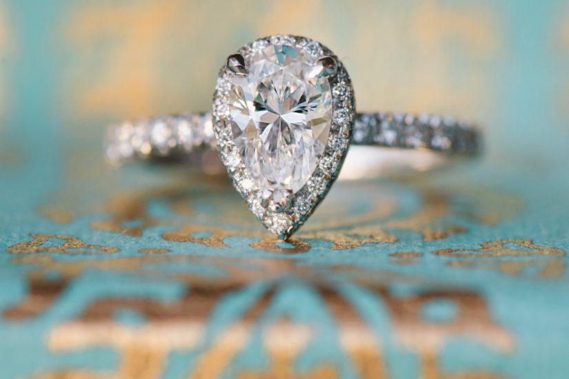 vintage inspired engagement ring pear shaped diamond
