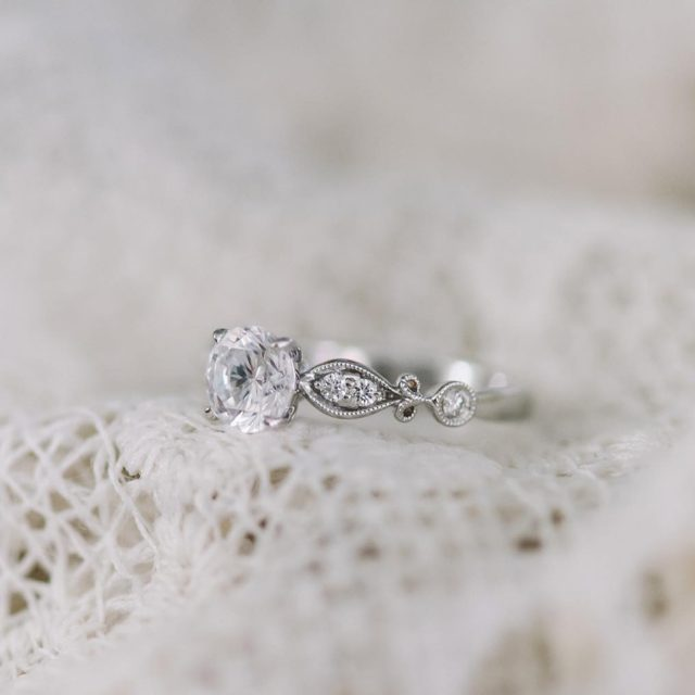 Pure romance EngagementRing DiamondRing Engaged SheSaidYes VintageInspired