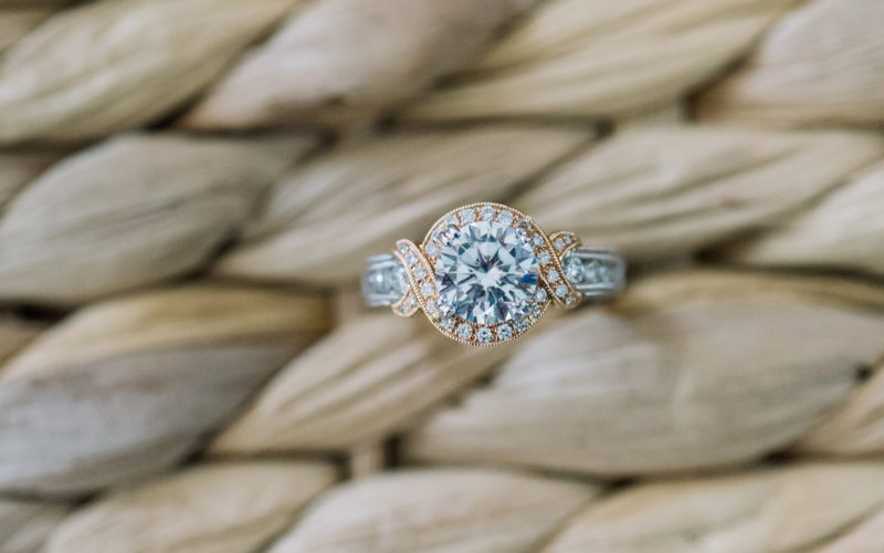two toned gold engagement ring