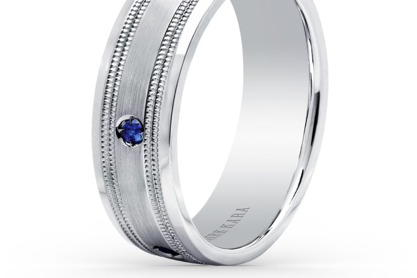Man's wedding band in white gold with blue sapphires
