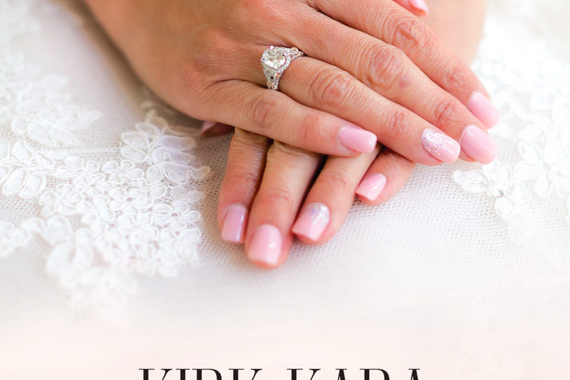 Kirk Kara poster with logo and Forever Captivating written at the bottom with a model resting her hands on her lap wearing Kirk Kara rings