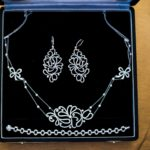 Stunning vintage jewelry set worn by the bride at her wedding