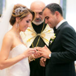 Bride and groom exchanging rings during a beautiful wedding ceremony