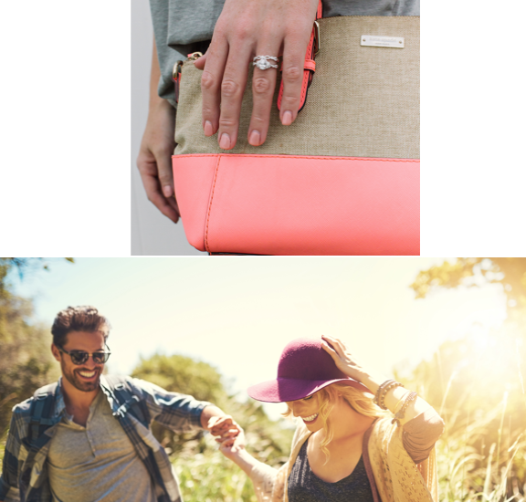 Two pictures, one with a model wearing Kirk Kara rings holding a purse, and a couple playing in a field