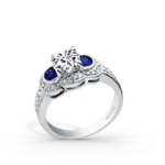 Platinum diamond and sapphire ring from Kirk Kara