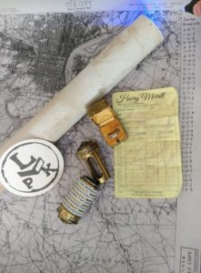 Kirk Kara rings, map and tools used in a Da Vinci Code scavenger hunt