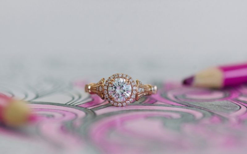 Kirk Kara diamond and gold ring with a pink drawing