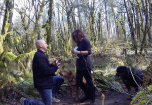 Surprise proposal during a hike in the woods with their two dogs