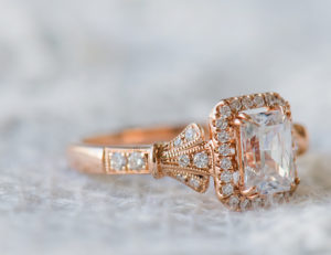 Kirk Kara rose gold engagement ring from the Lori Collection.