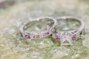 White gold, diamond and pink sapphire wedding set by Kirk Kara