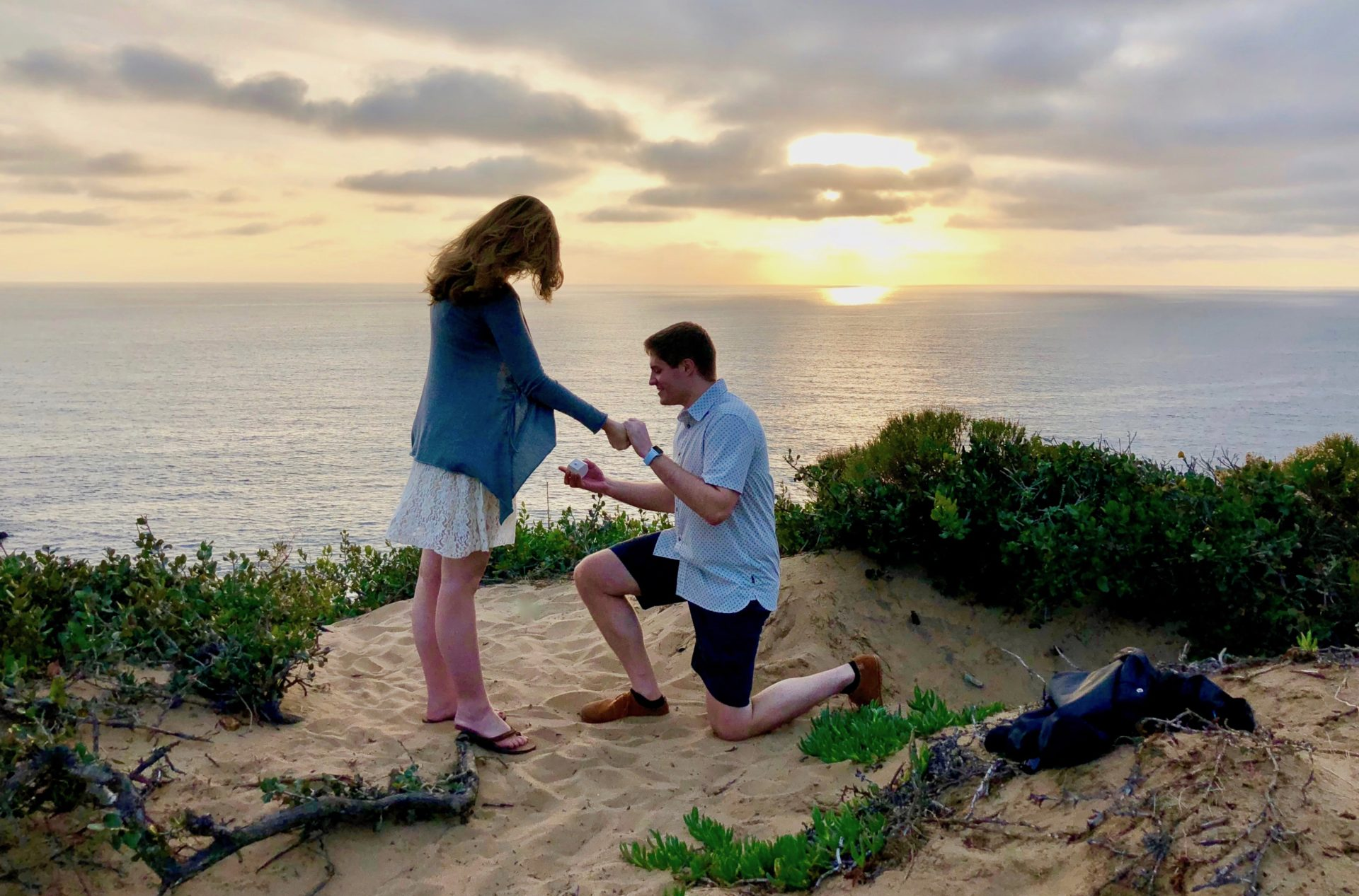 Proposal on the beach in Malibu